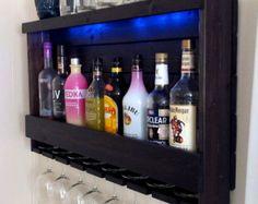 Rustic Wine Rack / Lighted Liquor Cabinet / Wall por CedarOaks