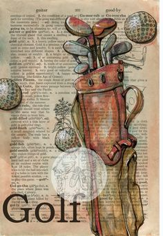 Golf - Mixed Media Drawing on Distressed, Dictionary Paper - flying shoes art studio