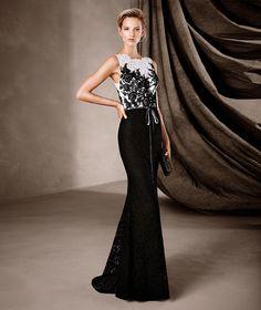 CENEIDA - Vestido comprido bicolor Pronovias