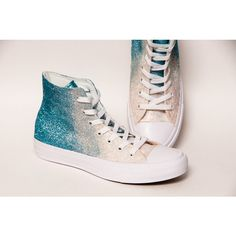 Glitter Ombre Two Tone Malibu Blue to Ivory Converse Ii Hi Top... ($175) ❤ liked on Polyvore featuring shoes, sneakers, silver, sneakers & athletic shoes, tie sneakers, women's shoes, high top shoes, tennis shoes, tennis sneakers and sparkle high top sneakers