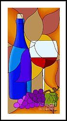 Wine Bottle And Glass Framed Print by Debi Payne