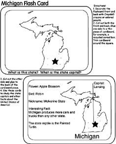 US State Flash Cards - Michigan coloring page