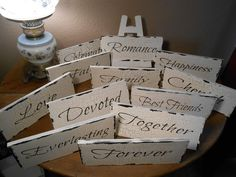 WEDDDING TABLE SIGNS signs  Cottage, Chippy, Distressed