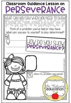 A classroom guidance lesson on the character education trait of perseverance. Use in the regular classroom or as a part of the school counseling program for through graders. Guidance Lessons, Character Education, A Classroom, School Counselor, Counseling, Messages, How To Plan, Kids, Printables