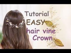 EASY Tutorial Hair Tiara Crown Wedding Prom Headpiece DIY Hair Vine Gold Leaves Accessory - YouTube