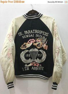 Vintage 80s 90s Sukajan US Paratroopers Sendai 11th Airborne Jacket Embroidery Souvenir Satin Jacket Size L #J125  Tag reads: L  Please check
