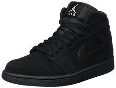 quality design 08c63 f6ace Nike Men s Air Jordan 1 Retro Mid Basketball Shoes Black White-Black size  10.5