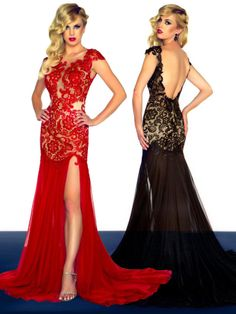 Sexy 2014 New Design Mermaid Cap Sleeve Black Red Lace Side Slit Court Train Long Formal Pageant Evening Gown Prom Dresses