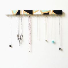 Wood Jewelry Holder - Modern Jewelry Display - Necklace Holder - Wall Mounted Wood Jewelry Holder - Jewelry Hanger, Geometric Design