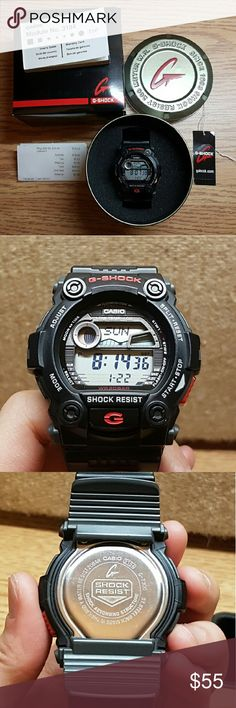 Authentic G-Shock Watch w/ OG Box, Tag, & Receipt Like new authentic G-Shock watch.  Lightly used for about 3 months when first bought, then put away for a few years. Selling because watch is too big for my small wrist. Glass is in 10/10 condition. No scratches on it whatsoever. Band is in 8/10 condition. Refer to photos for condition of glass and band.   What's included: -Authentic G-Shock watch -Original box -Original tag -Original receipt  *Feel free to ask any questions. G-Shock…