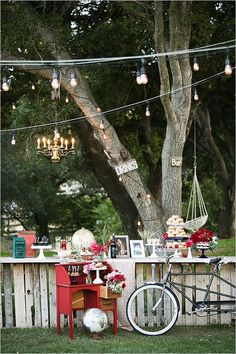 Summer dessert bar from afar at this Fourth of July wedding inspiration. #weddingchicks Captured By: Kaysha Weiner Photography http://www.weddingchicks.com/2014/06/24/red-white-and-blue-wedding-ideas/