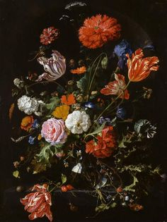 Jan Davidz de Heem - Vase of Flowers @ the Fitzwilliam Museum Cambridge.... this is an example of Dutch/Flemish flower painting, part of a trend for vivid, and often allegorical, still life painting in the 17th and 18th centuries. Apparently de Heem's work epitomises the genre. I would say more, but my Wikipedia-tolerance is running low.