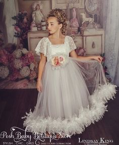 Sweet Charming Feather Flower Girl Dress