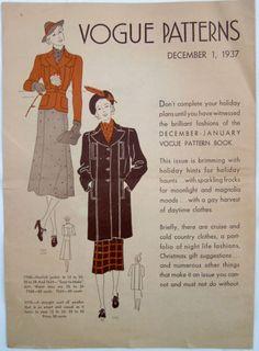 Vogue Patterns, December 1937 featuring Vogue 7760-7624 (jacket-skirt) and 7770 (coat)