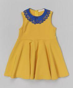 Look at this #zulilyfind! Dark Yellow & Blue Lace Collar Dress - Toddler & Girls #zulilyfinds