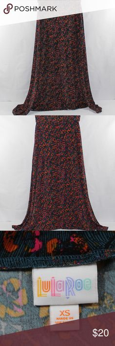 "LuLaRoe Print Fold Over Waist Maxi Women Skirt This pre-owned like new multi-color print maxi skirt has a fold over waist.   Brand: LuLaRoe Size: XS Color: Black, Teal, Pink, Burnt Orange Material: 95% Polyester, 5% Spandex Pattern: Print Style: Maxi Waist Across: 14"" Skirt Length: 42"" Occasion: Casual, Church, Date Night Condition:  Pre-owned / Fabric is relatively fresh and new looking with no flaws. May show slight signs of use/washing etc.  1A1-000005 LuLaRoe Skirts Maxi"