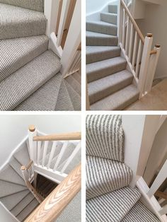 Stripe Fitted To Hall Stairs and Landing. This simple and subtle stripe manufactured by one of Kidderminster's finest weavers, brings light and elegance to this modern staircase. Expertly fitted by our time served fitting team. Striped Carpet Stairs, Grey Stair Carpet, Stairway Carpet, Striped Carpets, Hallway Carpet, Bedroom Carpet, Carpet On Stairs, Sisal Carpet, Living Room Carpet