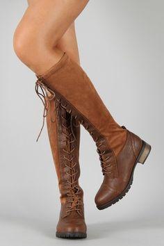 Wild Diva Lounge Bojana-12 Military Lace Up Knee High Boot I really like boots