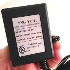 YNG YUH YP-007 OEM AC Power Supply Adapter Charger 7.5V DC 200mA
