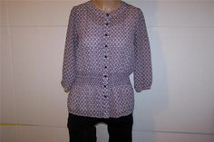 CHARTER CLUB Shirt Blouse Cami 6 Silk Button Front Purple White 3/4 Sleeves #CharterClub #Blouse #Career