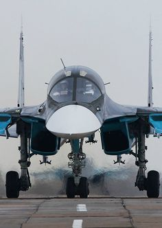 Air Force - Sukhoi Su-34 (NATO Code Name Fullback) Is a Russian Twin-Seat, High Precision, Heavy Strike Fighter. It is intended to Replace the Sukhoi Su-24 (NATO Code Name Fencer) and is. Based on the Sukhoi Su-27 (NATO Code Name Flanker) First Flight was in April 1990.