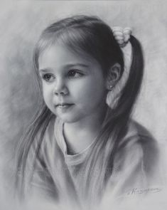 Drawing Portraits - Portrait Drawing of a little girl by Dry brush Discover The Secrets Of Drawing Realistic Pencil Portraits.Let Me Show You How You Too Can Draw Realistic Pencil Portraits With My Truly Step-by-Step Guide. Pencil Portrait Drawing, Portrait Sketches, Pencil Art Drawings, Realistic Drawings, Portrait Art, Painting & Drawing, Drawing Portraits, Brush Drawing, Female Portrait