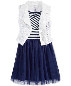 Beautees Girls' 2-Pc. Lace Moto Vest & Dress Set