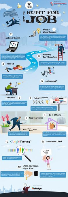 Job Infographics: 12 tips on how to hunt for a job.