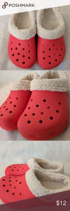 Kids Crocs red fleece lined shoes Pair of red sherpa-lined Crocs.  Youth size 1-3.  Shoes are pre-owned, but show very little wear. CROCS Shoes