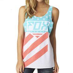 2015 Fox Racing Womens Summer Intake Flag Casual Sleeveless Tank Top