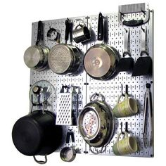 Features:  -Includes 2 kitchen pegboards and 18 assorted kitchen tool board hooks for organizing pots pans, screws, sheet rock anchors and mounting hardware is included with pegboards.  -Pegboard mate
