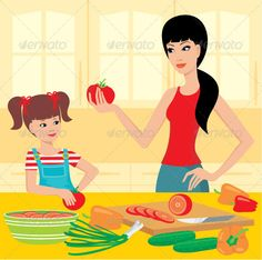 Mum learns the daughter to prepare  #GraphicRiver         Vector illustration, color full, no gradient, no mesh     Created: 7March12 GraphicsFilesIncluded: JPGImage #VectorEPS #AIIllustrator Layered: No MinimumAdobeCSVersion: CS Tags: bell #board #child #cooking #daughter #diet #family #food #fresh #girl #happy #healthy #helping #home #house #indoors #kitchen #knife #learning #lifestyle #little #making #motherhood #pepper #preparation #salad #vegetable #woman #young