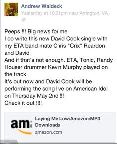 W00t! Mr. David Cook WILL be appearing on Idol on May 2nd! At least...all of his bandmates have confirmed that they will be. Hopefully Mr. Cook shows up to play with. HA!