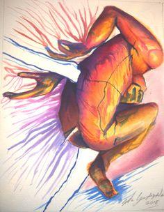 """Jonathan García Ayala De la Serie """"Bocetos de Corpus Homenaje a Javier Marín"""" El Sueño del Hombre Varilla 22 x 28 cm  11 de enero de 2016 Acuarela sobre papel"""