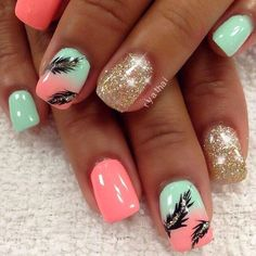 There are three kinds of fake nails which all come from the family of plastics. Acrylic nails are a liquid and powder mix. They are mixed in front of you and then they are brushed onto your nails and shaped. These nails are air dried. Feather Nail Designs, Feather Nail Art, Cute Nail Designs, Feather Design, Acrylic Nails Designs Short, Coral Nail Designs, Beachy Nail Designs, Acrylic Nail Designs For Summer, Toe Nail Designs For Fall