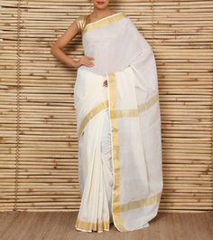 Amodha Offwhite & Gold Saree with Mocash