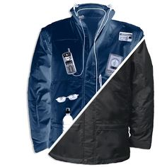 The Federal Agent's Convertible Travel Jacket can hold all your gadgets and more. The jacket has 52 pockets of which 40 are hidden. The jacket has a Light Jacket, Rain Jacket, G Man, Cool Jackets, Motorcycle Jacket, Windbreaker, Cool Stuff, Fun, How To Wear