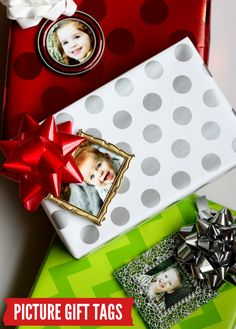 Ornament Frame Gift Tags - just stick in each child's picture!