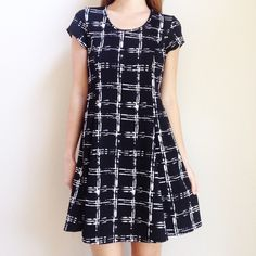 | new | black and white skater dress offers welcome new without tag size medium black skater dress with white cage print. •86115•  instagram: @xomandysue Dresses Mini
