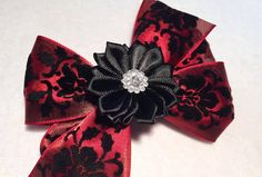 Red Satin and Black Velvet Flower Hair Bow  4 by ItsEspecially4U