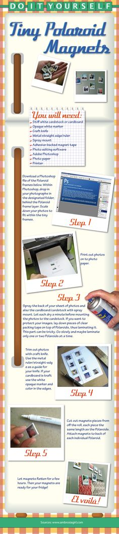 cover your refrigerator with tiny magnet photos that are customized with your family. You gotta have Photoshop for this diy craft work though. I am liking these instructorgraphs.very helpful. Diy House Projects, Diy Projects To Try, Bow And Arrow Diy, Picture Magnets, How To Make Everything, Diy Garland, Birthday Crafts, Diy Recycle, Photo Craft