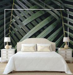 Vinyl Wallpaper, Modern, Bedroom, Etsy, Home Decor, Furniture, Leaves Wallpaper, Murals, Photo Wallpaper