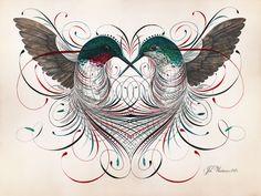 An illustration combined with calligraphy art piece by Jake Weidmann. Body Art Tattoos, New Tattoos, Tatoos, Black Tattoo Art, Hummingbird Tattoo, Hummingbird Painting, Pinstriping, Penmanship, Calligraphy Art