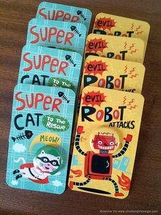 Super Cat and Evil Robot badges