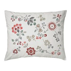IKEA - HEDBLOMSTER, Cushion, , Embroidery adds texture and lustre to the cushion.You can easily vary the look because the two sides have different designs.The polyester filling holds its shape and gives your body soft support.The buttons make the cover easy to remove.