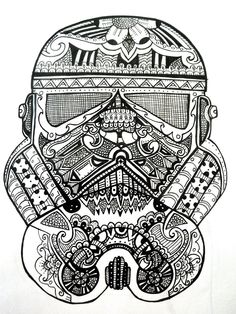 Adult Star Wars Coloring Pages Lovely Imperial Storm Trooper Tattoo Starwars Star Wars Coloring Book, Skull Coloring Pages, Disney Coloring Pages, Mandala Coloring Pages, Coloring Book Pages, Adult Coloring, Stitch Games, Skull Tatto, Star Wars Colors