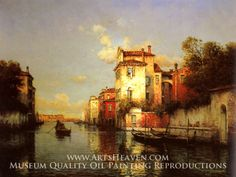 Gondola on a Venetian Canal by Antoine Bouvard. Museum Quality Oil Painting Reproductions On Canvas.