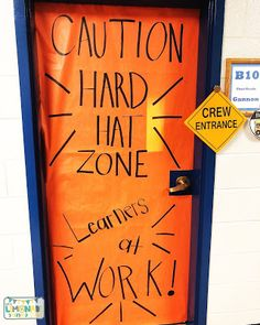 The Lemonade Stand: Construction Classroom TransformationThe Lemonade Stand: Construction Classroom Transformation Construction Bulletin Boards, Construction Theme Classroom, Under Construction Theme, Construction Crafts, Construction Birthday Parties, Construction Business, Construction Design, Vbs Themes, School Themes