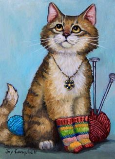 Cat Kitten socks knitting ACEO print from original oil by Joy Campbell Cat Paws, Dog Cat, Chat Web, Gatos Cat, Cat Posters, Cat Colors, Cat Drawing, Beautiful Cats, Crazy Cats