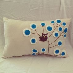 Pillow with felt applique flowers and owl by casapoema on Etsy, $17.00
